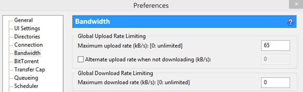 uTorrent Bandwidth Preferences